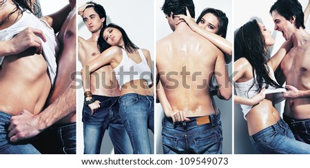 Collage of a sexy girl and topless guy together - stock photo