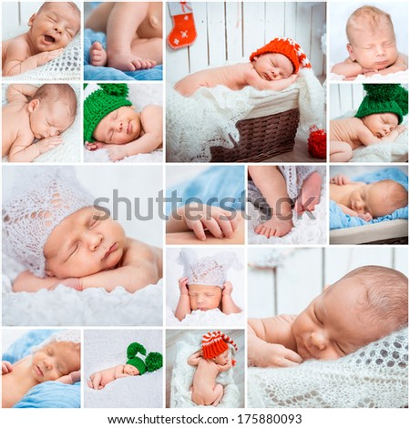 Collage of a sweet newborn babies photos - stock photo