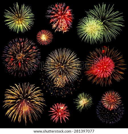 Collage of a variety of colorful fireworks isolated on black background - stock photo