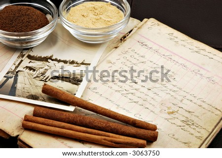 Collage of a vintage handwritten cookbook with cinnamon sticks, ginger, nutmeg, and an old photograph of a woman - stock photo