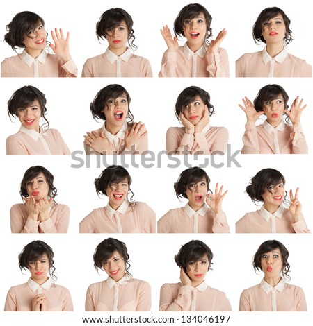 Collage of a woman with different facial expressions on a white background - stock photo