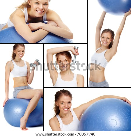 Collage of a young girl with blue gymnastic ball and dumbbells - stock photo