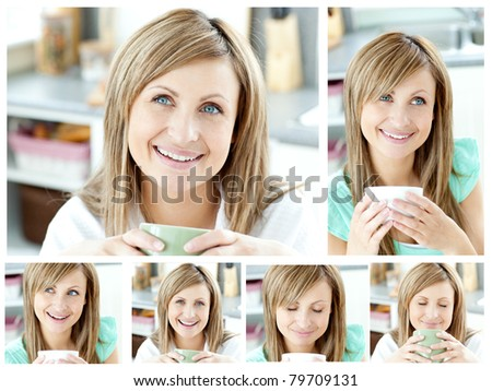 Collage of a young woman drinking a cup of coffee in the living room in her apartment - stock photo
