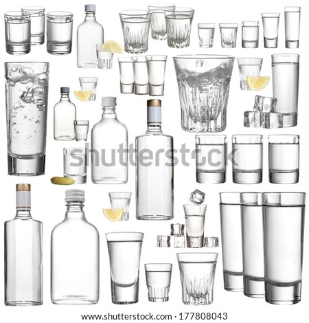 Collage of alcohol drinks. Vodka isolated on white - stock photo