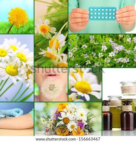 Collage of allergy theme - stock photo