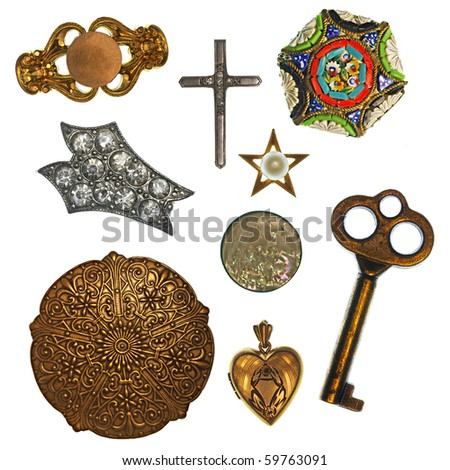 Collage of antique jewelry and trinkets for design element - stock photo