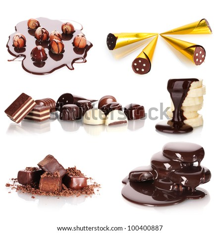collage of assorted delicious chocolate candies and nuts isolated on white - stock photo