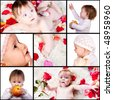 collage of  baby's portraits - stock photo