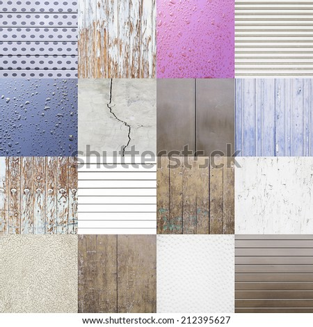 Collage of backgrounds with textures, detail of different backgrounds, textured materials - stock photo