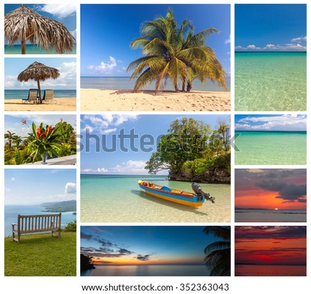 Collage of beach holiday scenes in in Jamaica - stock photo