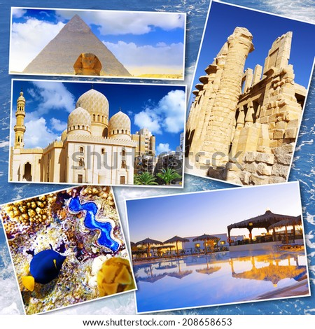 Collage of beautiful Egypt . Africa - stock photo