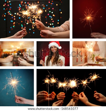 Collage of beautiful girl and sparkler in hands - stock photo