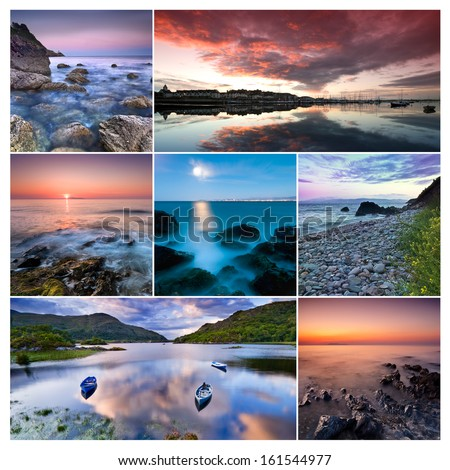 Collage of beautiful landscapes from Republic of Ireland: Howth, Malahide, Killarney National Park - stock photo