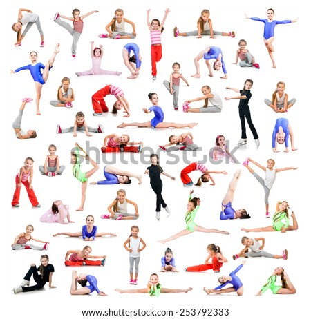 collage of beautiful little girl gymnasts  perform exercises on a white background - stock photo