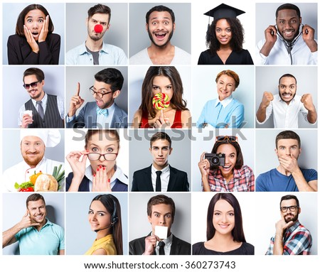Collage of beautiful people of different nationalities on white and grey background. People expressing different emotions and representing different professions or occupations - stock photo