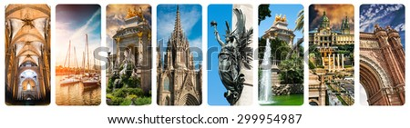 collage of beautiful views of Barcelona, Spain - stock photo