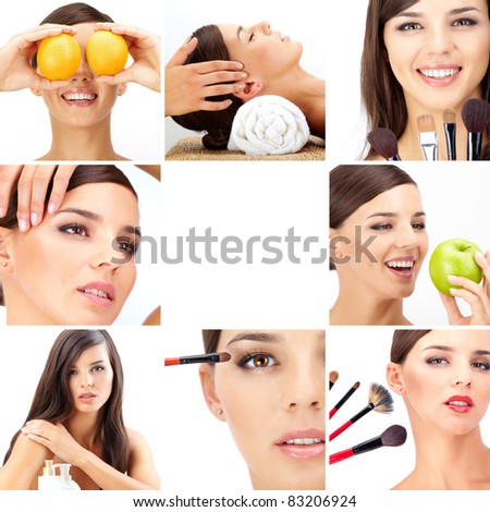 Collage of beautiful woman being taken care of in beauty salon - stock photo