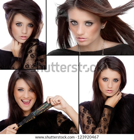 Collage of beautiful woman with frame - stock photo