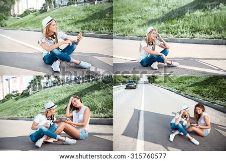 Collage of beautiful young women with music headphones and a takeaway coffee cup, surfing internet on tablet together and sitting on a separating strip on the road. - stock photo