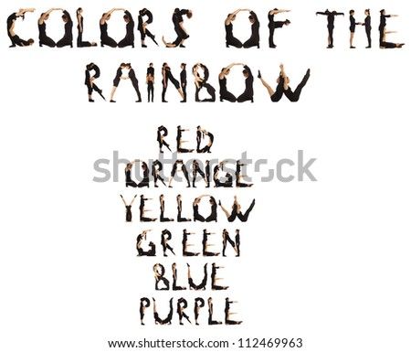 Collage of black dressed people forming colors of the rainbow over white background - stock photo