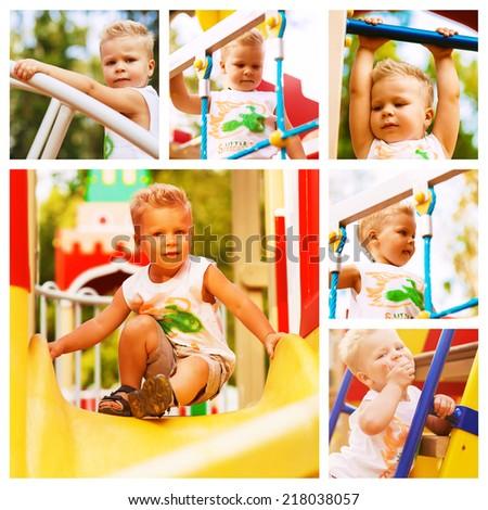 collage of boy having fun on playground - stock photo