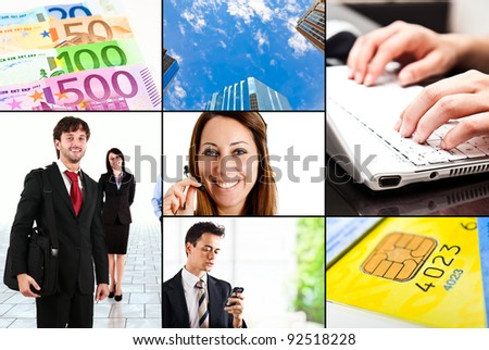 Collage of business and finance related images - stock photo
