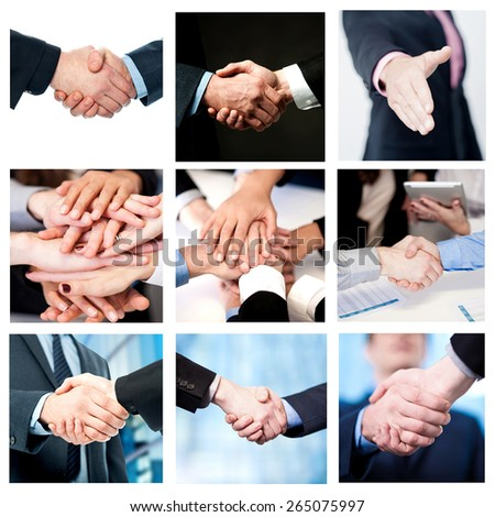 Collage of business deals and team work efforts - stock photo