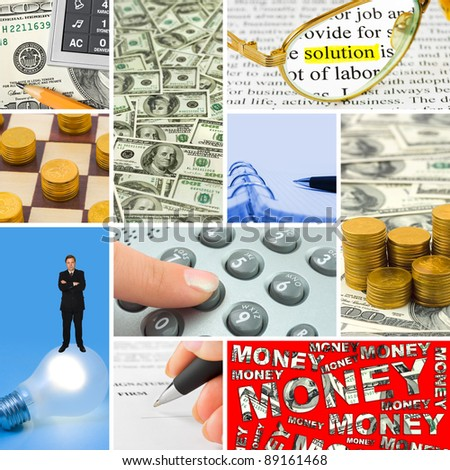 Collage of business images (my photos) - concept background - stock photo