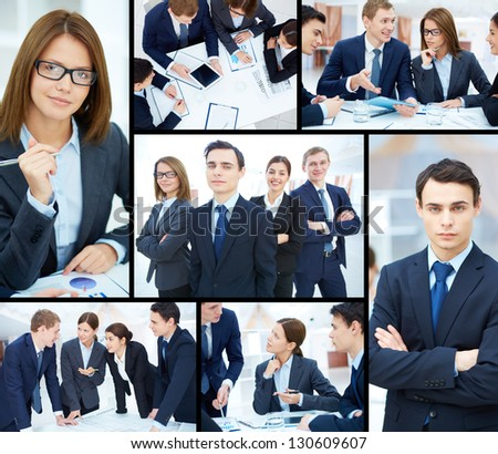Collage of business partners working at meeting and posing for camera - stock photo