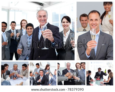 Collage of business people celebrating success with champagne - stock photo