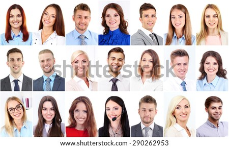 Collage of business people portraits - stock photo