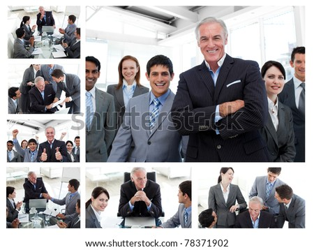 Collage of business people posing and working at the office - stock photo