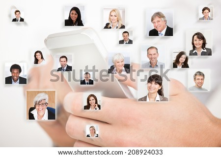 Collage of business people with hands using cell phone representing global communication - stock photo