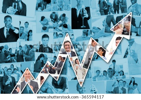 Collage of businessmen toasting and drinking champagne against red arrow pointing up - stock photo