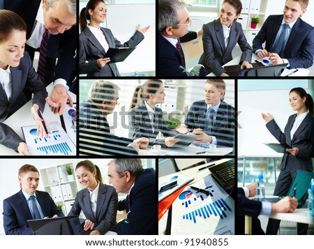 Collage of busy people discussing new project at meeting in office - stock photo