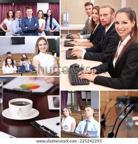 Collage of busy people discussing work and studying - stock photo