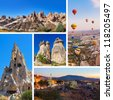 Collage of Cappadocia Turkey images - nature and tourism background (my photos) - stock photo