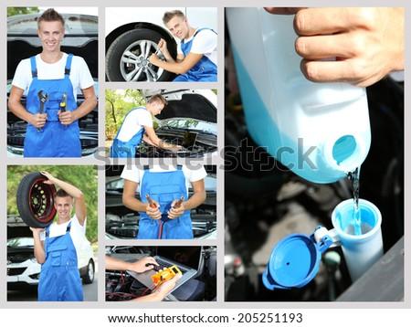 Collage of car mechanic - stock photo