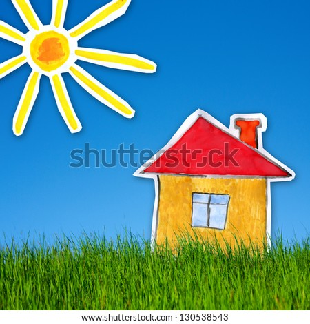 collage of childlike gouache painting of house and sun on the background of green grass  and blue sky - stock photo