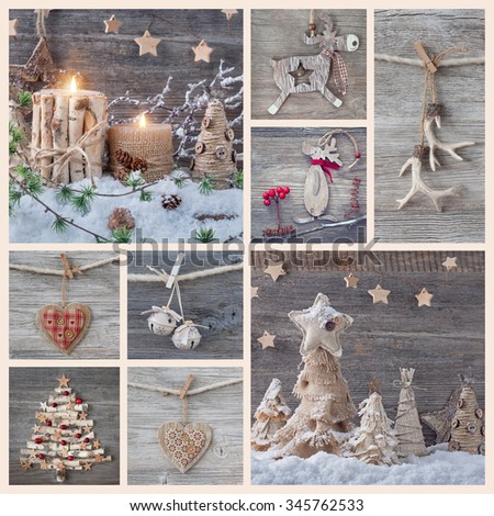 Collage of christmas decorations on a wooden background - stock photo