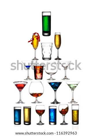 Collage of cocktails - stock photo
