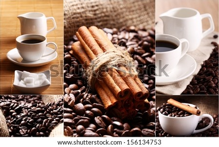 Collage of coffee cups and grains with teapot, a stack of cinnamon and plate with sugar - stock photo