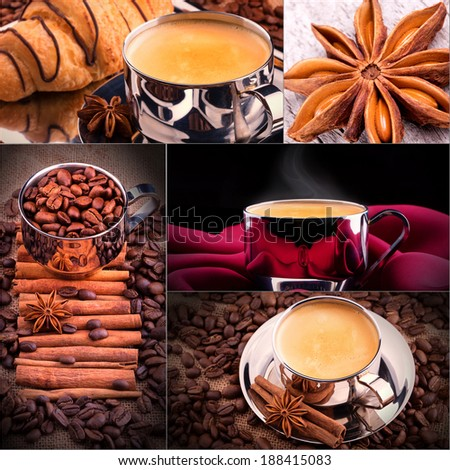 Collage of coffee details. Coffee antique grinder, coffee beans and sugar cubes. - stock photo