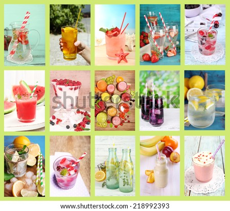 Collage of cold summer beverages - stock photo