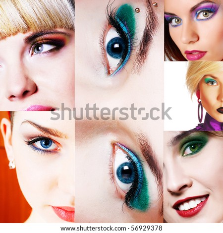 collage of color makeups - stock photo