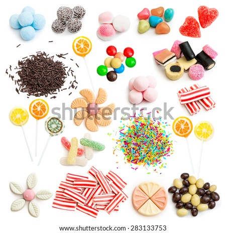 Collage of colorful assorted candy isolated on white background - stock photo