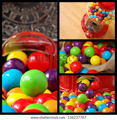 Collage of colorful bubble gum and old-fashioned gumball machine. - stock photo