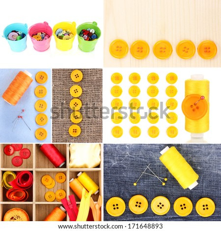 Collage of colorful buttons - stock photo