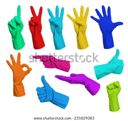 Collage of colorful rubber gloves - stock photo
