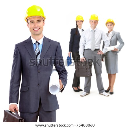 Collage of confident architects in helmets with their leader in front - stock photo